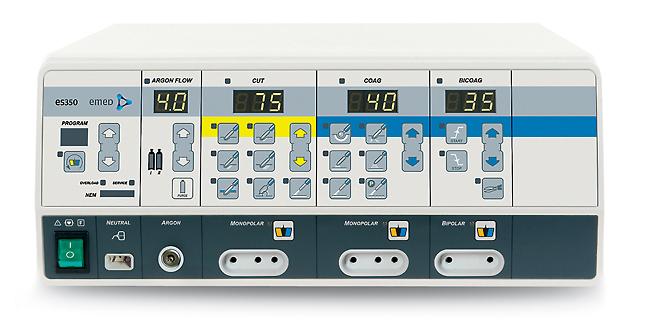 elektrohirurški uređaji es350sa Argon modulom Elektrohirurški generator koji zadovoljava sve zahteve moderne hirurgije i čija je glavna karakteristika Argon modul. Uređaj omogućava monopolarne operacije u standardnim režimima i u unapređenom Argon sečenju i koagulaciji. Odličan je kako za otvorenu hiruršku, tako i za endoskopsku i laparoskopsku proceduru. Sigurnosni sistemi: NEM sistem i AutoTest garantuju sigurnost izvršenih procedura. Opcija programiranja podešavanja i režima dodatno povećava komfor u radu sa ES350 sa ARGON modulom